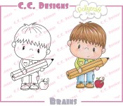 BRAINS Rubber Stamp from Pollycraft