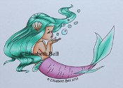 **PREORDER** BUBBLES MERMAID Rubber Stamp Elisabeth Bell Designs from Sweet Pea Stamps