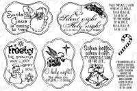 HOLIDAY CAROLS NOTABLES 4 Rubber Stamp Set from the Whimsy Stamps Sentiments Collection