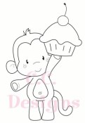 BIRTHDAY MONKEY Rubber Stamp Set Animal Crackers Collection from C.C. Designs