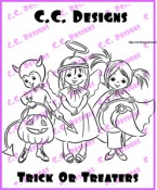TRICK OR TREATERS Rubber Stamp Drozy's Darlings Collection from C.C. Designs