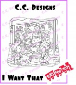 I WANT THAT - TOYS FOR TOTS Rubber Stamp Roberto's Rascals Collection from C.C. Designs