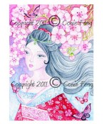 CHERRY BLOSSOMS Rubber Stamp Conie Fong Collection from Sweet Pea Stamps