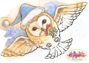 **PREORDER** CHRISTMAS OWL Rubber Stamp Aurora Wings Mitzi Sato-Wiuff Collection from Sweet Pea Stamps