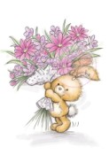 BUNNY WITH FLOWERS Clear Stamp Bunnies Collection from Wild Rose Studio