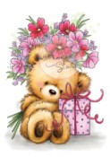 TEDDY WITH PRESENT Clear Stamp Teddies Collection from Wild Rose Studio