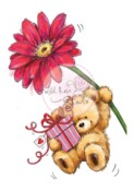 TEDDY WITH GERBERA Clear Stamp Teddies Collection from Wild Rose Studio
