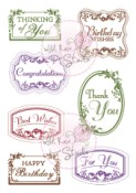 VINTAGE LABELS Clear Stamp Set from Wild Rose Studio