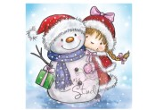 New! GIRL AND SNOWMAN Clear Stamp from Wild Rose Studio