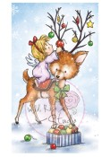 New! ANGEL ON REINDEER Clear Stamp from Wild Rose Studio