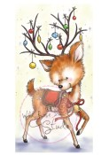 New! REINDEER WITH BAUBLES Clear Stamp from Wild Rose Studio