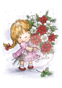 New! GIRL WITH XMAS BOUQUET Clear Stamp from Wild Rose Studio