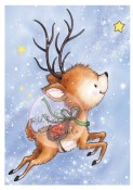 New! REINDEER FLYING Clear Stamp from Wild Rose Studio