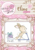 BUNNY ON SCOOTER Cling Rubber Stamp Blackberry Lane Collection from Wild Rose Studio