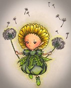 DANDELION SPRITE Rubber Stamp Aurora Wings Mitzi Sato-Wiuff Collection from Sweet Pea Stamps