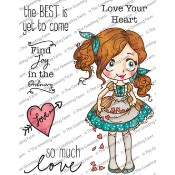 DOLLIE WITH HEARTS Rubber Stamp Set Dollie Collection from The Greeting Farm