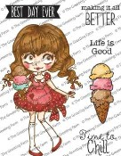 DOLLIE WITH ICE CREAM Rubber Stamp Set Dollie Collection from The Greeting Farm