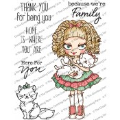 New! DOLLIE WITH KITTY Rubber Stamp Set Dollie Collection from The Greeting Farm