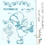 FLUTTERBY TO SAY HI Clear Stamp Set from Tiddly Inks