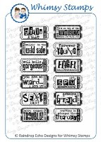THE FUN LIFE TICKETS 2 Rubber Stamp Set from the Whimsy Stamps Sentiments Collection