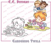 New! GARDENING TWILA Rubber Stamp Roberto's Rascals Collection from C.C. Designs