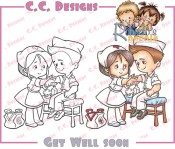 GET WELL SOON Rubber Stamp Roberto's Rascals Collection from C.C. Designs