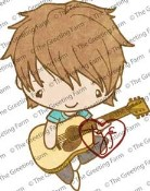 GUITAR IAN Rubber Stamp Anya & Ian Collection from The Greeting Farm