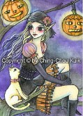 HALLOWEEN KITTY WITCH Rubber Stamp Ching-Chou Kuik Collection from Sweet Pea Stamps