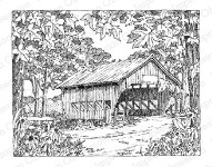 COVERED BRIDGE SCENE Cling Mounted Rubber Stamp by Gary Robertson from Impression Obsession