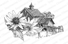 SUNFLOWER BARN Cling Mounted Rubber Stamp by Gary Robertson from Impression Obsession