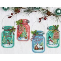 CHRISTMAS JAR ORNAMENTS Counted Cross Stitch Kit from Dimensions