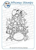 BUGGIN' DRUMMER Rubber Stamp KennyK Rock Squad Series from Whimsy Stamps