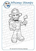 FIREMAN Rubber Stamp KennyK Work Force Collection from Whimsy Stamps