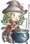 **REORDER** CAULDRON WITCH MARCI with Sentiments Rubber Stamp Set from La La Land Crafts