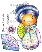 KIMONO MARCI WITH FAN with Accessories and Sentiments Rubber Stamp Set from La-La Land Crafts