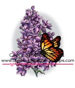 LILAC AND BUTTERFLY Rubber Stamp DoveArt Studio Collection from C.C. Designs