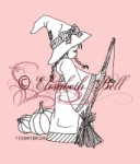 LITTLE WITCH WITH BROOM Clear Stamp Elisabeth Bell Designs from Belles 'n Whistles