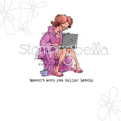 **PREORDER** LIZZY LAPTOP Rubber Stamp by Mo Manning from Stamping Bella