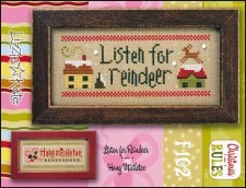 Christmas Rules Double Flip - LISTEN FOR REINDEER/HANG MISTLETOE Cross Stitch Chart with Embellishments from Lizzie Kate
