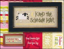 Christmas Rules Double Flip - KEEP THE SCHEDULE LIGHT/SHARE YOUR TOYS Cross Stitch Chart with Embellishments from Lizzie Kate