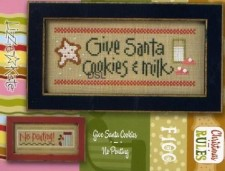 Christmas Rules Double Flip - GIVE SANTA COOKIES/NO POUTING Cross Stitch Chart with Embellishments from Lizzie Kate
