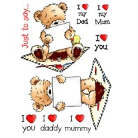 I LOVE YOU Popcorn the Bear Stamp Set from Crafter's Companion