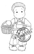 EDWIN WITH EGG BASKET Rubber Stamp Hoppy Easter Collection from Magnolia