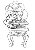 VINTAGE GRAMOPHONE Rubber Stamp With Love Collection from Magnolia