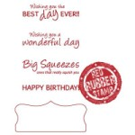 HAPPY DAYS TAB SENTIMENTS With Bonus Chipboard Rubber Stamp Set with BONUS from Make It Crafty