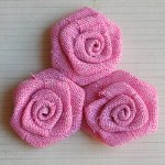 "Maya Road VINTAGE LINEN BURLAP ROSES BUBBLEGUM 2"" Pack of 3"