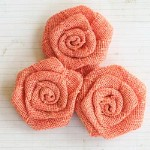 "Maya Road VINTAGE LINEN BURLAP ROSES SUNSET 2"" Pack of 3"