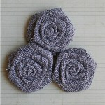 "Maya Road VINTAGE LINEN BURLAP ROSES SMOKE 2"" Pack of 3"