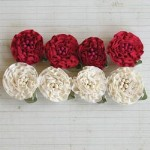 "Maya Road RUFFLE BLOSSOMS RIBBON FLOWERS  RED AND CREAM 1"" Pack of 8"