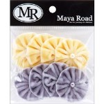 "Maya Road VELVET PLEATS FABRIC EMBELLISHMENTS YELLOW & GRAY WITH PEARL 1.5"" Set of 8"